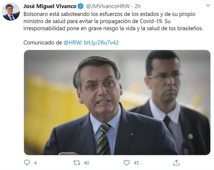 "Human Rights Watch criticó la ""conducta irresponsable"" de Bolsonaro frente a la pandemia"