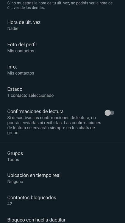 Desde el menú de Privacidad se pueden bloquear contactos.