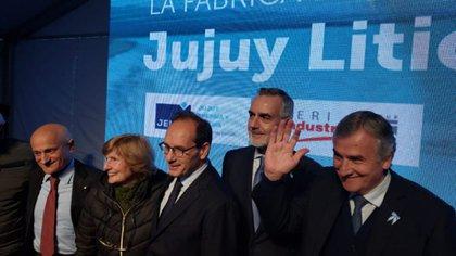 El embajador Manso, el vicecanciller Zlauvinen y el gobernador Morales la semana pasada en la inauguración de la planta en Jujuy