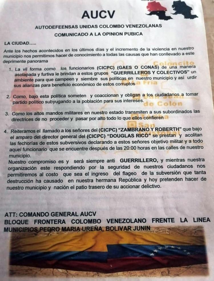 El panfleto de las Autodefensas Unidas Colombo Venezolanas