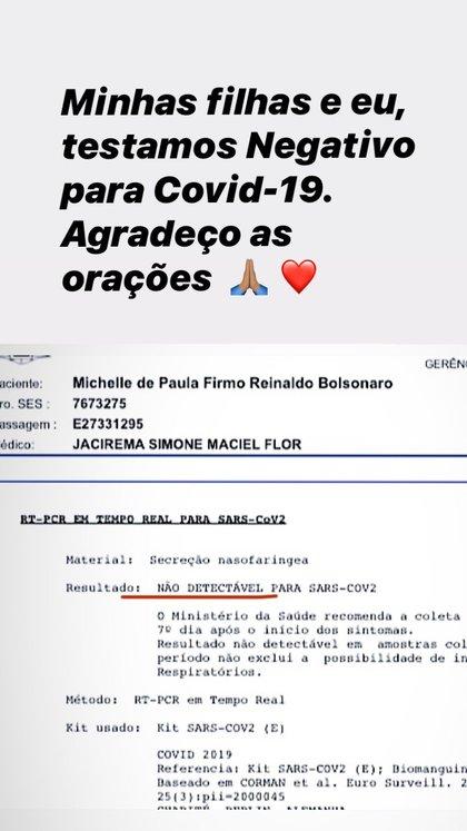 La historia de Instagram que publicó Michelle Bolsonaro para informar que tanto ella como sus dos hijas dieron negativo para coronavirus