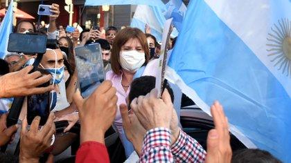 Patricia Bullrich, durante las manifestaciones de este lunes. (Nicolás Stulberg)