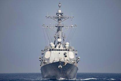 Una imagen de archivo del USS Nitze, un destructor clase Arleigh Burker operado por la marina de Estados Unidos (AFP)