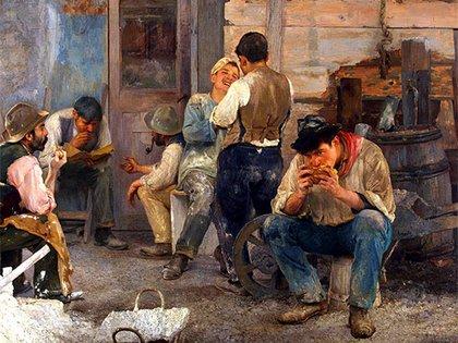 """""""La hora del almuerzo"""", de 1903. 1903. Óleo sobre tela, 160,5 x 252 cm, en el Museo Nacional de Bellas Artes"""
