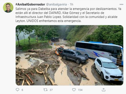 Gobernador de Antioquia atiende emergencia por derrumbe en Dabeiba, Antioquia.