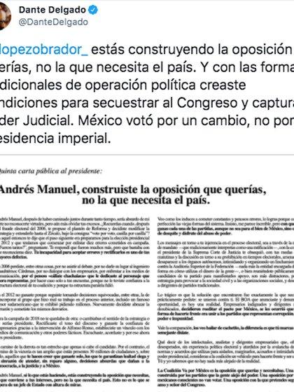 El senador de Movimiento Ciudadano aseguró que el mandatario mexicano construyó la oposición que necesita (Foto: captura de pantalla/ Twitter@DanteDelgado)