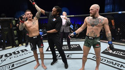 Jan 23, 2021; Abu Dhabi, United Arab Emirates; Dustin Poirier reacts after his knockout victory over Conor McGregor of Ireland in a lightweight fight during the UFC 257 event inside Etihad Arena on UFC Fight Island.  Mandatory Credit: Jeff Bottari/Handout Photo via USA TODAY Sports
