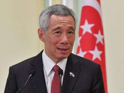 El primer ministro de Singapur, Lee Hsien Loong, habla durante una conferencia de prensa conjunta con el primer ministro de Malasia el 9 de abril de 2019 (Foto: Harry Salzman / BERNAMA / dpa)