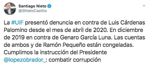 Santiago nieto confirmó denuncia contra Luis Cárdenas Palomino. (Foto: Captura de pantalla)