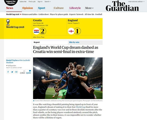 El sueño de Inglaterra en la Copa del Mundo chocó con Croacia en el tiempo extra de la semifinal (The Guardian)