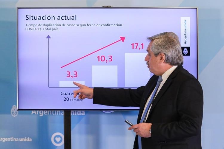 El presidente Alberto Fernández durante el anuncio de extensión del aislamiento social, preventivo y obligatorio hasta el domingo 10 de mayo (Presidencia)
