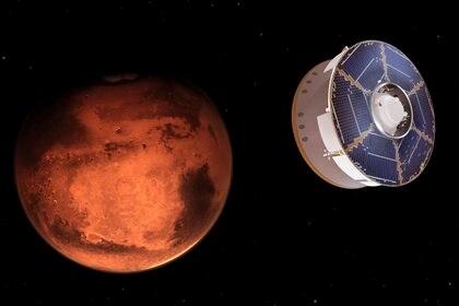 Ilustraciones de la NASA donde se ve la sonda espacial Mars 2020 transportando al explorador Perseverance mientras se acerca a Marte. (NASA/JPL-Caltech via AP)