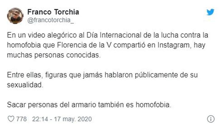 El mensaje de Franco Torchia sobre el video de Flor de la V (Fotos: Twitter)