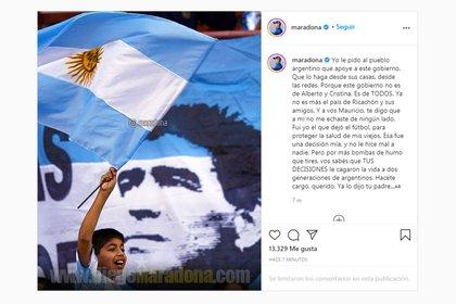 El posteo de Diego Maradona en redes sociales