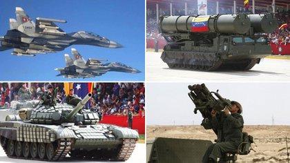 Algunas de las armas rusas más importantes del arsenal venezolano (en sentido horario): cazas Sukhoi Su-30, misiles S-300, lanzadores portátiles Igla-S y tanques T-72