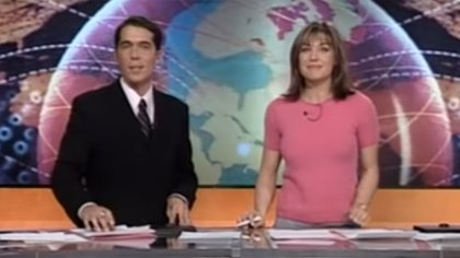 Paula Trapani al frente de Telefe Noticias, junto a Rodolfo Barili (Imagen: captura)