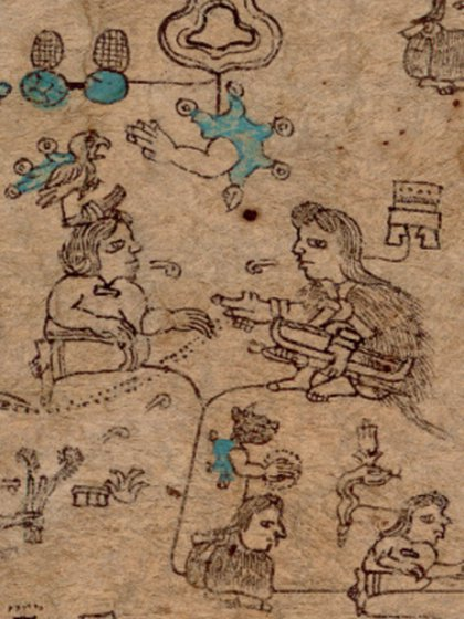 Fragment of plate 3 of the Codex Xolotl that shows the marriage of Huetzin from Coatlinchán with Atotoztli from Colhuacan;  down you see part of his offspring