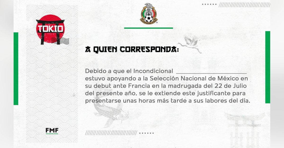 El justificante de la Selección Mexicana para quienes se desvelaron con el partido México vs Francia - Infobae