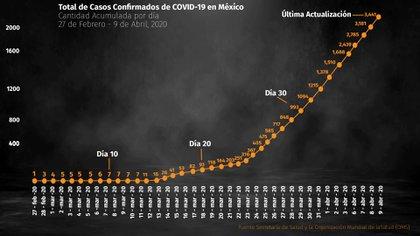 Total de casos confirmados de COVID-19 en México (Foto: Infobae)