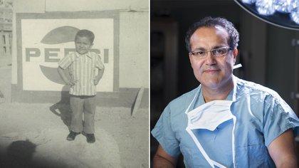 Alfredo Quiñones HInojosa a los 4 años en México y hoy, un prestigioso cirujano