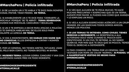 Las advertencias que circulan en las redes sociales para las protestas en Perú