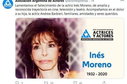 Inés Moreno murió el domingo pasado a los 88 años (Foto: Twitter)