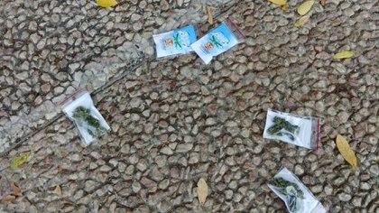 Bolsas de marihuana fueron lanzadas desde un drone en Tel Aviv. Israel Police/Handout via REUTERS