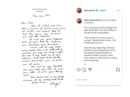 Publicación de Instagram de Hillary Clinton