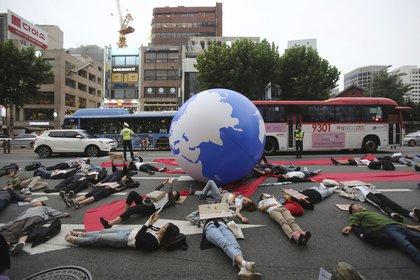 Las marchas por el cambio climático se multiplican en el mundo al mismo ritmo que los incendio queman parte del planeta. (AP Photo/Ahn Young-joon)