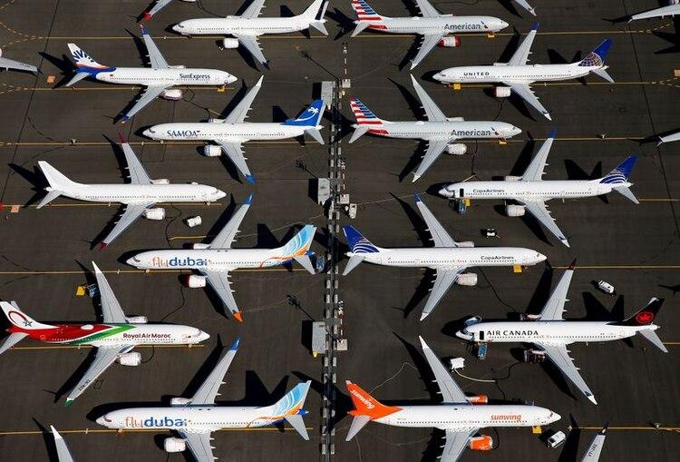 FOTO DE ARCHIVO. Varios aviones Boeing 737 MAX se ven estacionados en una foto aérea, en Boeing Field, en Seattle, Washington (REUTERS/Lindsey Wasson)