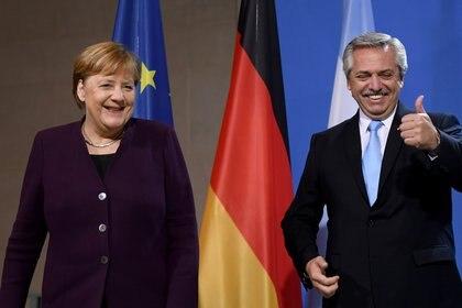 Alberto Fernández y Ángela Merkel durante su encuentro en Berlín