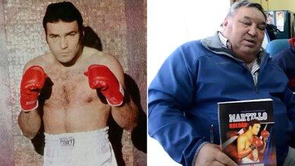 Martillo en su momento de campeón y más de treinta años después con la biografía donde se cuenta su historia.