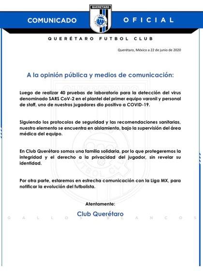 Gallos Blancos señalaron que el futbolista se encuentra bajo supervisión médica (Foto: Club Querétaro)