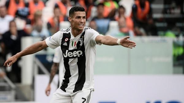 AFP PHOTO / Filippo MONTEFORTECristiano Ronaldo reacciona durante el partido entre Juventus y Lazio
