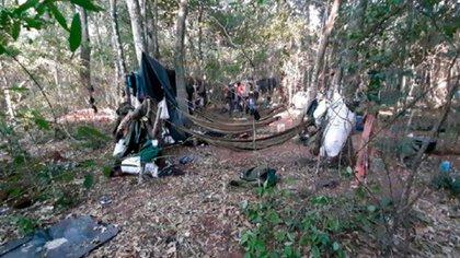 El campamento del EPP que fue desarticulado en el operativo