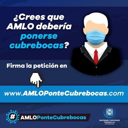 """Imagenes promocionales de la campaña """"AMLO, ponte cubrebocas"""" (Foto: Especial)"""