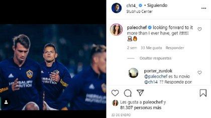 """Shenouda (@paleochef) ha comentado varias publicaciones del futbolista, como en esta, que dijo que deseaba """"más que nunca"""" ver al Galaxy de nuevo. """"Estoy deseando que llegue, más que nunca, ¡a por ello!"""", escribió. Los seguidores del famoso le preguntaron si era su novia (Foto: Instagram @ch14_)"""