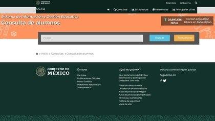 Después hay que ingresar la CURP del estudiante (Foto: https://www.siged.sep.gob.mx)