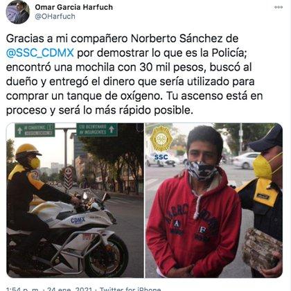 Omar García Harfuch reconoció la labor del policía a través de su cuenta de Twitter (Foto: captura de pantalla)