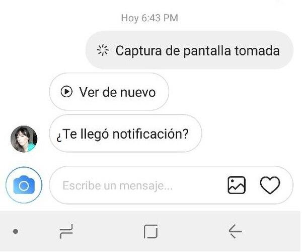 Así se ve la notificación sobre la captura de pantalla que se hace en los mensajes directos
