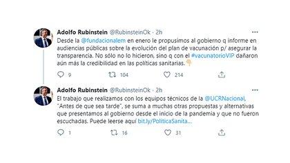 Adolfo Rubinstein contó que desde la Fundación Alem (UCR), en enero pasado, le propusieron al Gobierno que informara en audiencias públicas sobre la evolución del plan de vacunación para asegurar la transparencia, pero no lo hicieron.