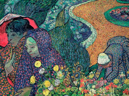 """""""Supongamos que las dos damas que han salido a caminar son tú y nuestra madre"""", le escribió Vincent a Wil en una carta, sobre esta obra, """"Recuerdo del jardín en Etten""""."""