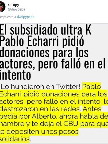 """El Dipy compartió una nota sobre Pablo Echarri, en donde lo describen como """"ultra K"""""""