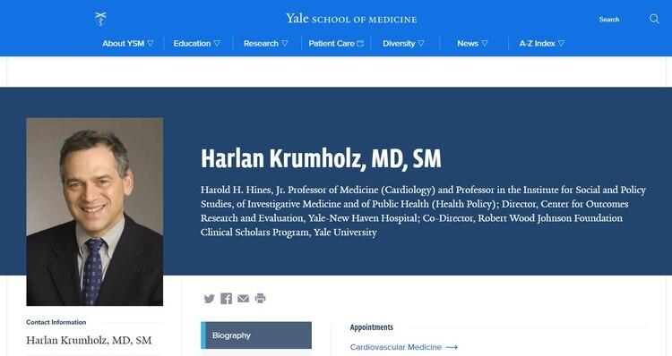 Harlan Krumholz medico Universidad de Yale, advirtió sobre los síntomas y la falla en las pruebas (Yale University)