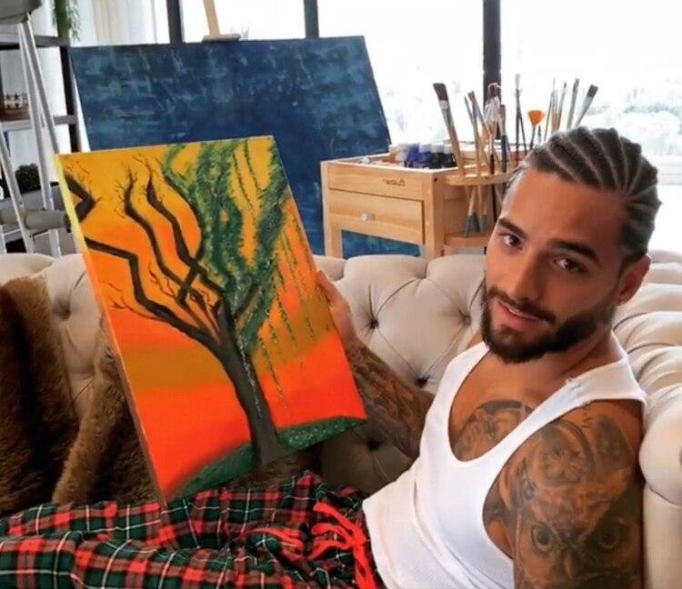 Maluma mostró su habilidad para la pintura