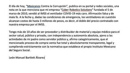 Aclaración de León Manuel Bartlett Álvarez sobre la venta de ventiladores (Foto: Captura de pantalla)