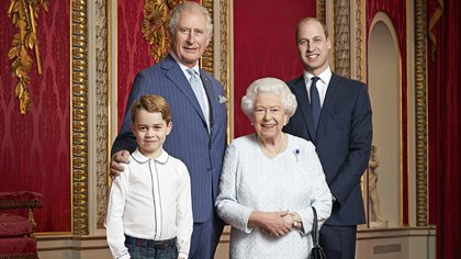 Britain's Queen Elizabeth II, Prince Charles, Prince William Prince George pose for a portrait to mark the start of a new decade, in the Throne Room at Buckingham Palace in London