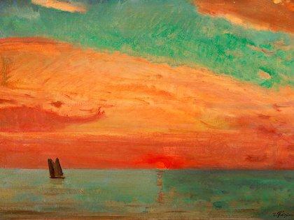 """""""Amanecer sobre el mar del este"""" (1932), de Fujishima Takeji. Óleo sobre tela (65,2 cm x 9,09 cm) en el Artizon Museum, Tokio"""