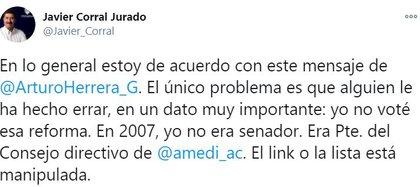 (Captura: Twitter @Javier_Corral