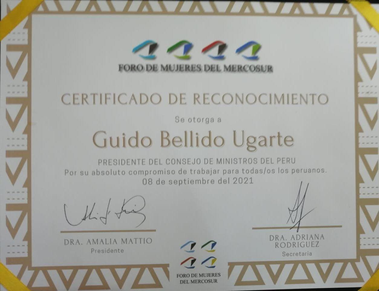 Cartificado recibido por Guido Bellido.